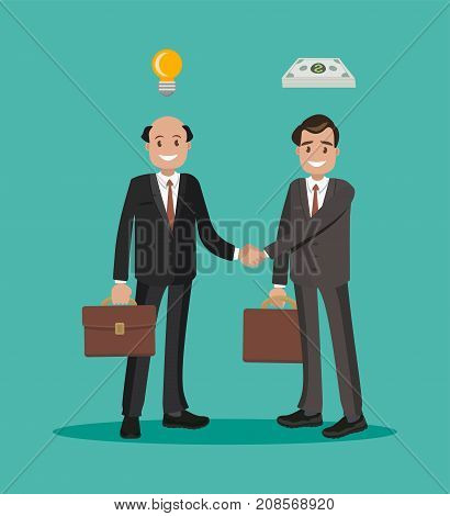 Men in a business transaction. Idea and monetary agreement. Two businessmen shaking hands on a bargain. Flat design.