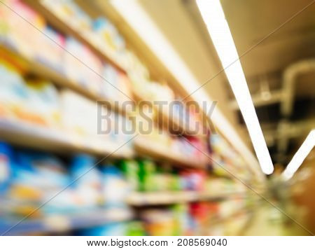 Supermarket With Blurred Background And Bokeh Effect