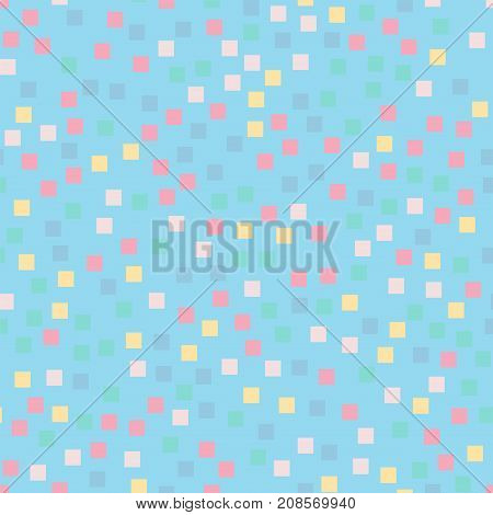 Abstract Squares Pattern. Light Blue Geometric Background. Admirable Random Squares. Geometric Chaot