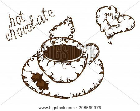 A cup of hot chocolate with streaks an elegant outline chocolate streaks