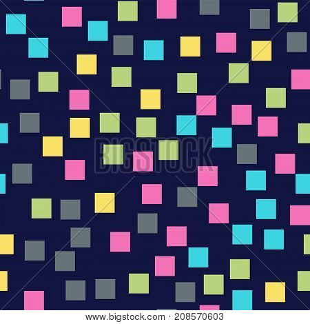 Abstract Squares Pattern. Deep Blue Geometric Background. Wonderful Random Squares. Geometric Chaoti