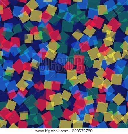 Abstract Squares Pattern. Deep Blue Geometric Background. Brilliant Random Squares. Geometric Chaoti