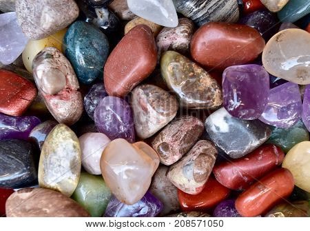 mineral stone mix close up. Colourful mixed up mineral stones