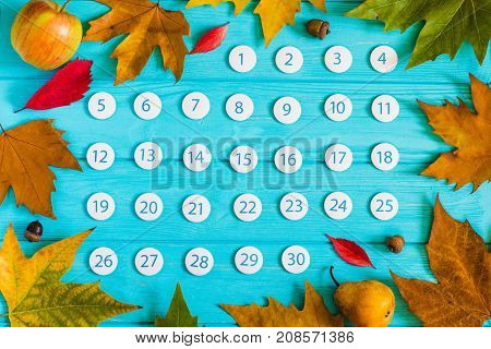 Bright close up November 2017 calendar on blue wooden background