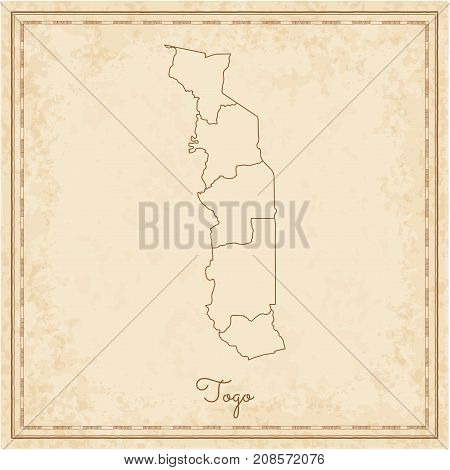 Togo Region Map: Stilyzed Old Pirate Parchment Imitation. Detailed Map Of Togo Regions. Vector Illus