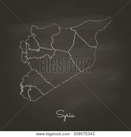 Syria Region Map: Hand Drawn With White Chalk On School Blackboard Texture. Detailed Map Of Syria Re
