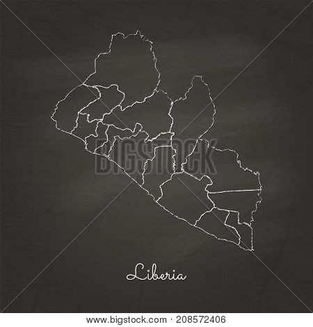 Liberia Region Map: Hand Drawn With White Chalk On School Blackboard Texture. Detailed Map Of Liberi