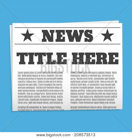 Realistic newspaper isolated on blue background. Vector illustration