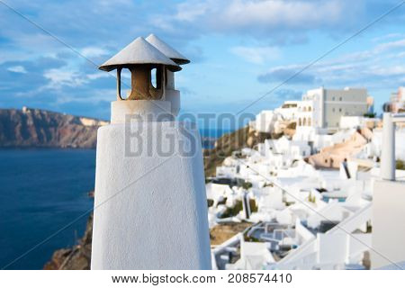 Architecture detail  in town Oia. Santorini Greece