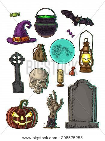 Set for Halloween Party. Pumpkin with scary face bat skull bag candle witch hat candy hand cauldron cross grave. Vector color vintage engraving illustration isolated on white background