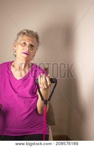 Senior Woman Doing Rehabilitation Exercises