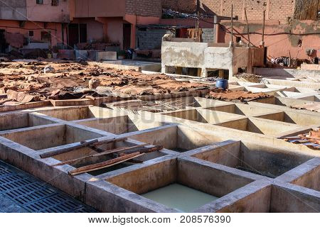 Leather Traditional Tannery. Marrakech. Morocco