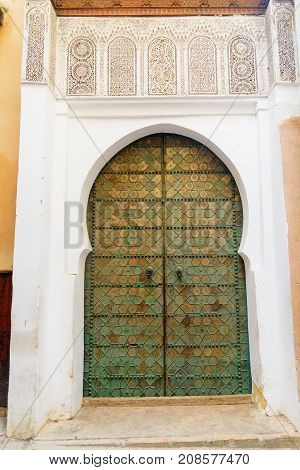 Traditional entry door in Fes city. Morocco