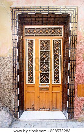 Traditional Moroccan entry door in Medina. Meknes. Morocco