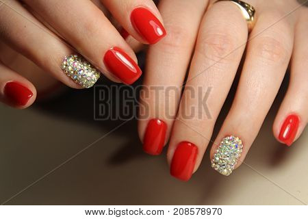 Youth Manicure Design Red Color
