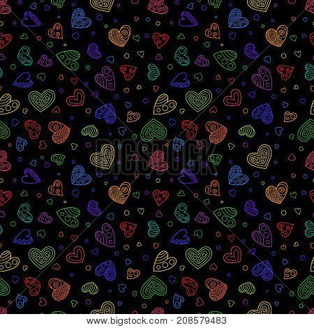 Hand Drawing Seamless Pattern of Colorful Hearts on Black Background. Colored Pattern for Cloth Fabric Textile Tissue Pack Paper Wrapping Paper.