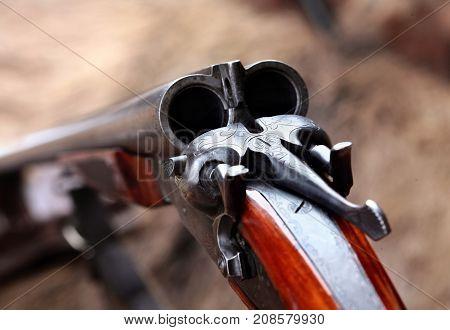 Hunting Double Barrel Vintage Shotgun, Close-up.selecyive Focus.concept Hunting
