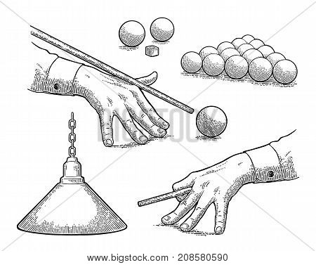 Set billiard. Balls chalk lamp and male hand in a shirt is aimed cue. Vintage black engraving illustration for poster banner. Isolated on white background.