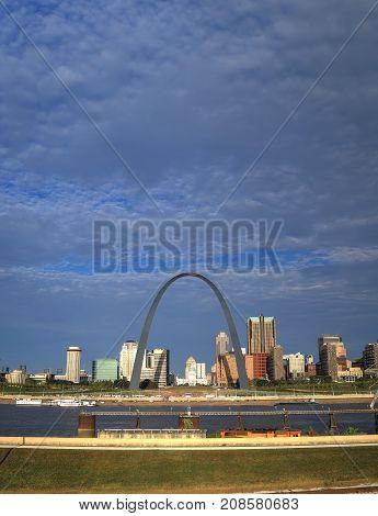 October 7, 2017 - St. Louis, Missouri - St. Louis Missouri Skyline and the Gateway Arch.