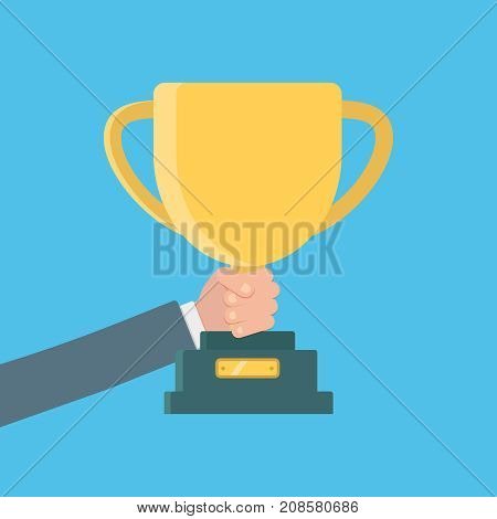 Winning cup in his hand. Symbol of success, winning, championship. Gold cup in hand. Trophy. Golden bowl. Winner. Flat design vector illustration. leadership concept.
