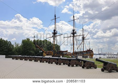 Replica Museum sailing battle ship Goto Predestination, Admiralty embankment, Voronezh, Russia