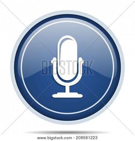 Microphone blue round web icon. Circle isolated internet button for webdesign and smartphone applications.