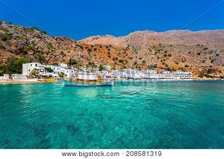 Greek village of Loutro, Chania, Crete, Greece.