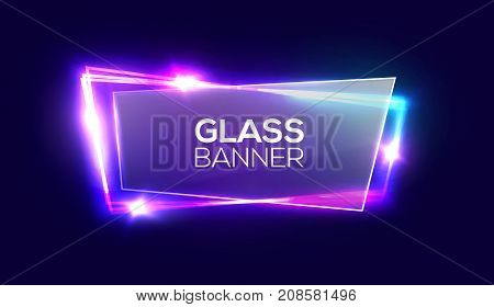 Night club neon sign with textured transparent glass plate. 3d light signboard with shining neon effect. Techno frame with glowing on dark blue backdrop. Electric banner. Colorful vector illustration.
