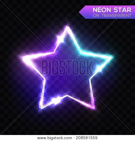 Abstract Neon Star on Dark Blue Transparent Background. Electric Frame. Night Club Sign. 3d Retro Light Star Signboard Shining Neon Effect. Techno Glowing Frame Backdrop. Colorful Vector Illustration.