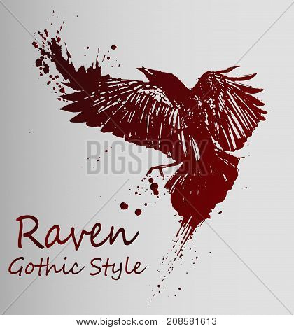 A beautiful dark sketch of a flying raven - gothic style. Raven Tattoo