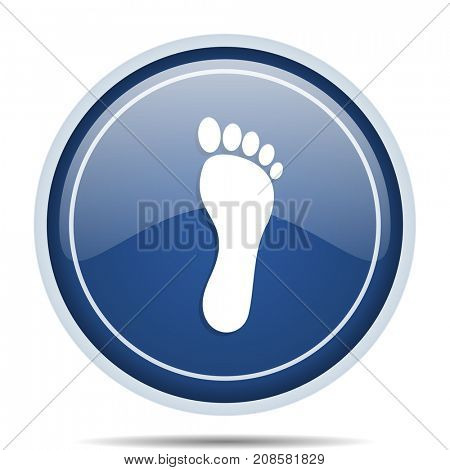 Foot blue round web icon. Circle isolated internet button for webdesign and smartphone applications.