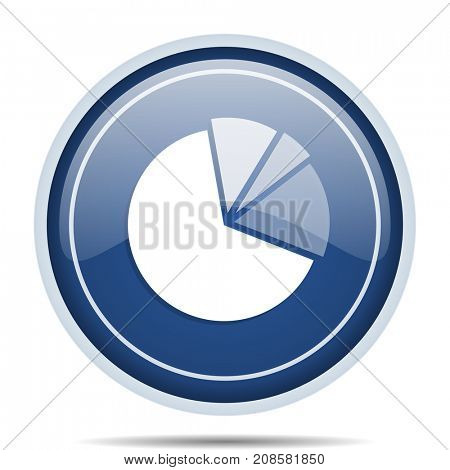 Diagram blue round web icon. Circle isolated internet button for webdesign and smartphone applications.