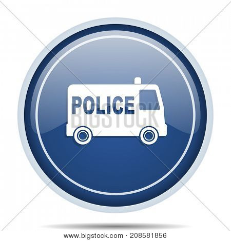 Police blue round web icon. Circle isolated internet button for webdesign and smartphone applications.