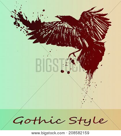 Beautiful gothic gradient Raven - close-up. The idea for a Halloween poster is a raven. Steep sketch of a tattoo, a flying bird