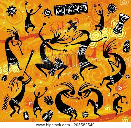 Dancing figures in a primitive style on an orange background