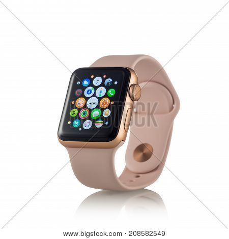 Moscow, Russia - October 07, 2017: New Apple Watch Series 3 Gold Aluminum Case Pink Sand Sport Band