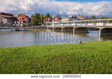 Bridge To Spa Island In Piestany, Dark Sky (slovakia)
