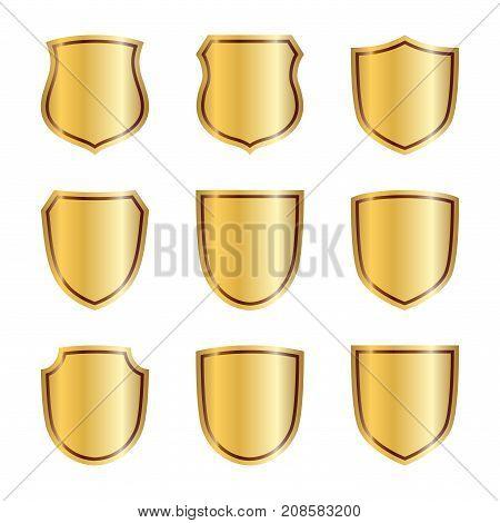 Shield Gold Icons Set Shape Emblem