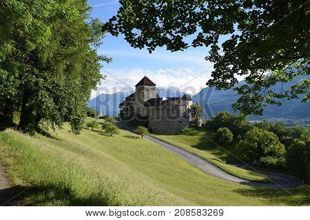 Landscape view from the Vaduz Castle in Liechtenstein