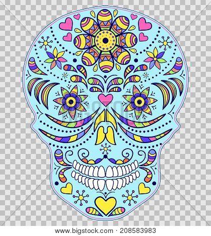 Abstract skull on transparent background. Vector illustration.