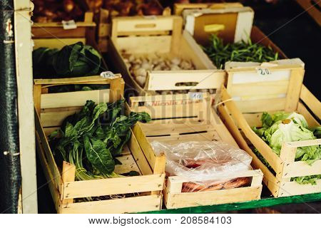 Fresh vegestable on the farm market. Natural local products on the farm market. Harvesting. Seasonal products. Food. Vegetables
