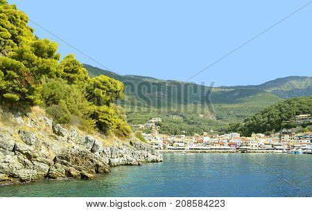 Paxos harbour Greece - October 01 2017 : Paxos a small island south of Corfu a Greek island in the Ionian sea