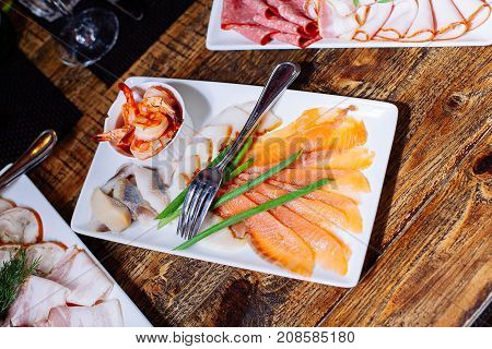 Tasty Appetizer. Plate Of Red  Fish Salmon Fillet