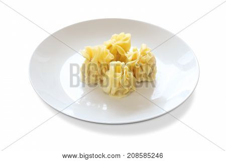 Yellow Skin Wonton Dumpling on a white plate