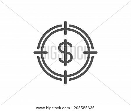 Target With Dollar Line Icon.
