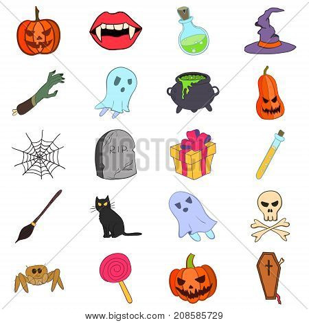 Vector stock colored doodle style Halloween icons