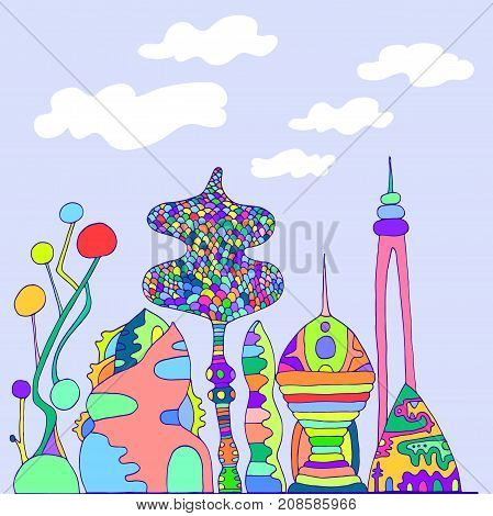 Bright colorful fantastic citycartoon sketch style hand drawing futuristic city isolated against a background of sky and clouds vector illustration of a coloring page for children and adults.