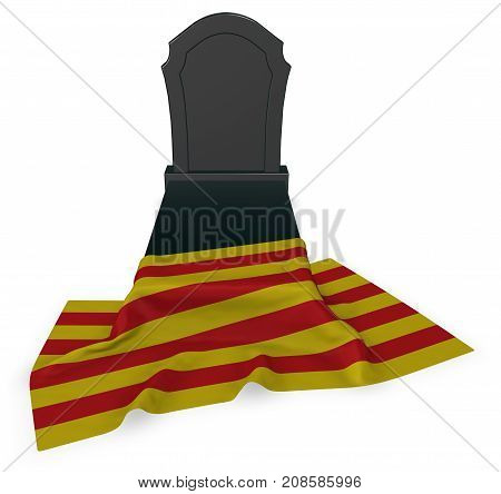 gravestone and flag of catalonia - 3d rendering poster