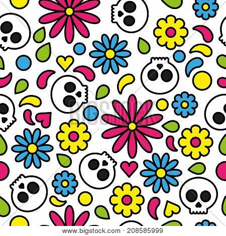 Skull seamless pattern day of the dead cute floral bright colorful vector