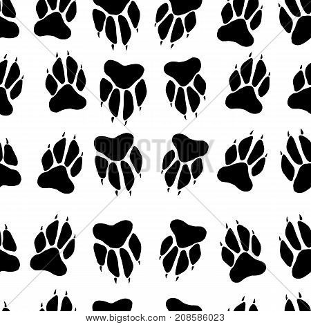 Black white paw print dog imprint seamless pattern white background vector hand drawing animal track cartoon funny illustration paws.